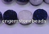 CAG8356 7.5 inches 14mm coin blue plated druzy agate beads