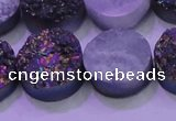 CAG8384 7.5 inches 20mm coin rainbow plated druzy agate beads
