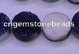 CAG8386 7.5 inches 20mm coin blue plated druzy agate beads