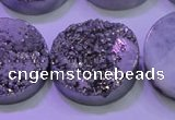 CAG8402 7.5 inches 30mm coin silver plated druzy agate beads