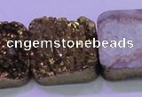 CAG8429 7.5 inches 30*30mm square gold plated druzy agate beads
