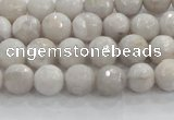 CAG8514 15.5 inches 6mm faceted round grey agate beads wholesale