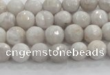 CAG8515 15.5 inches 8mm faceted round grey agate beads wholesale