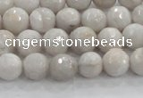 CAG8516 15.5 inches 10mm faceted round grey agate beads wholesale
