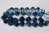CAG8575 15.5 inches 15*16mm - 17*18mm cube dragon veins agate beads