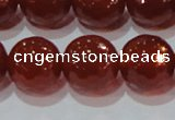CAG8597 15.5 inches 20mm faceted round red agate gemstone beads