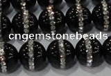 CAG8633 15.5 inches 14mm round black agate with rhinestone beads