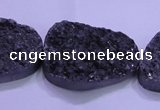 CAG8670 7.5 inches 22*30mm freeform black plated druzy agate beads