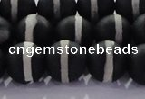 CAG8692 15.5 inches 10mm round matte tibetan agate gemstone beads