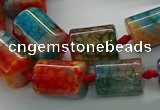 CAG9061 15.5 inches 8*12mm - 15*20mm tube dragon veins agate beads