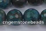 CAG9486 15.5 inches 16mm faceted round blue crazy lace agate beads