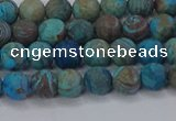 CAG9493 15.5 inches 6mm round matte blue crazy lace agate beads