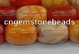 CAG9543 15.5 inches 13*18mm drum dragon veins agate beads
