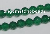 CAG955 15.5 inches 8mm faceted round green agate gemstone beads