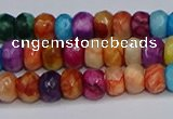 CAG9584 15.5 inches 4*6mm faceted rondelle crazy lace agate beads