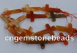 CAG9628 15.5 inches 32*48mm - 35*50mm cross dragon veins agate beads