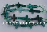 CAG9631 15.5 inches 32*48mm - 35*50mm cross dragon veins agate beads