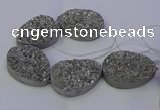 CAG9672 7.5 inches 30*40mm teardrop silver plated druzy agate beads