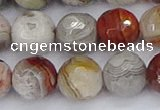 CAG9864 15.5 inches 12mm faceted round Mexican crazy lace agate beads