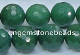 CAJ07 15.5 inches 18mm faceted round green aventurine jade beads