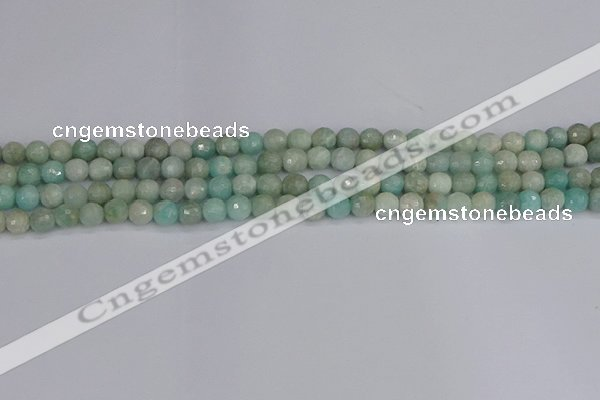 CAM1450 15.5 inches 4mm faceted round amazonite gemstone beads