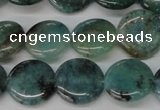 CAQ620 15.5 inches 14mm flat round aquamarine gemstone beads