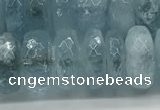 CAQ894 15.5 inches 5*12mm faceted rondelle aquamarine beads