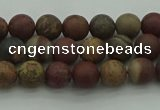 CAR360 15.5 inches 4mm round matte red artistic jasper beads