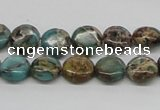CAT5008 15.5 inches 10mm flat round natural aqua terra jasper beads