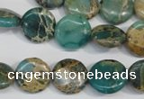 CAT5030 15.5 inches 14mm flat round natural aqua terra jasper beads