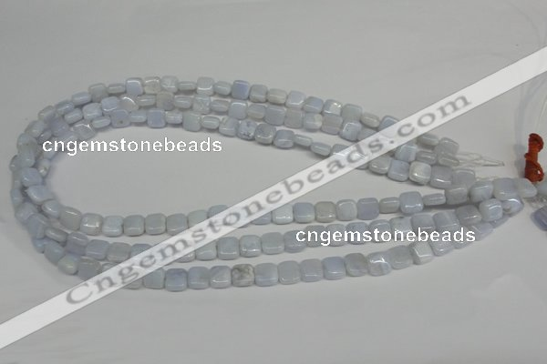 CBC36 15.5 inches 8*8mm square blue chalcedony beads wholesale