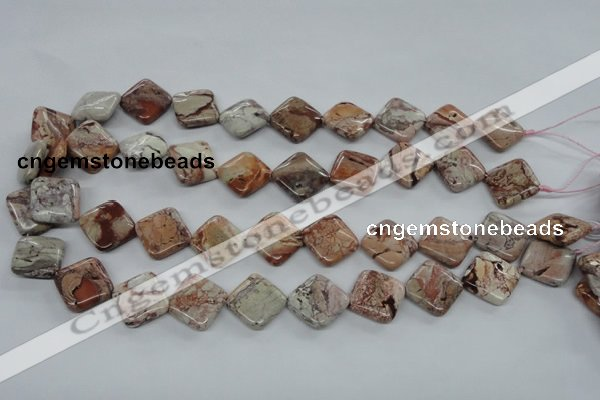 CBD53 15.5 inches 16*16mm diamond brecciated jasper gemstone beads