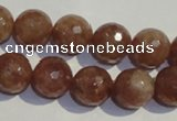CBQ11 15.5 inches 12mm faceted round strawberry quartz beads