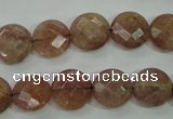 CBQ242 15.5 inches 12mm faceted coin strawberry quartz beads