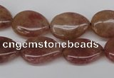 CBQ283 15.5 inches 13*18mm flat teardrop strawberry quartz beads