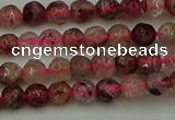CBQ410 15.5 inches 4mm faceted round strawberry quartz beads