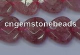 CBQ469 15.5 inches 12mm faceted heart strawberry quartz beads