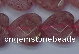 CBQ471 15.5 inches 16mm faceted heart strawberry quartz beads