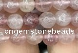 CBQ571 15.5 inches 6mm faceted round strawberry quartz beads