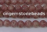 CBQ601 15.5 inches 6mm round natural strawberry quartz beads