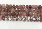 CBQ711 15.5 inches 6*10mm - 8*11mm faceted tyre strawberry quartz beads
