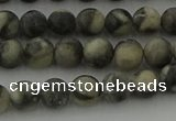 CBW161 15.5 inches 6mm round matte black fossil jasper beads