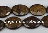 CBZ439 15.5 inches 15*20mm faceted oval bronzite gemstone beads