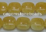 CCA14 15.5 inches 15*15mm square double drilled yellow calcite beads