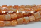 CCA56 15.5 inches 8*8mm square orange calcite gemstone beads