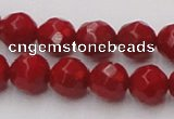 CCB123 15.5 inches 7mm faceted round red coral beads wholesale