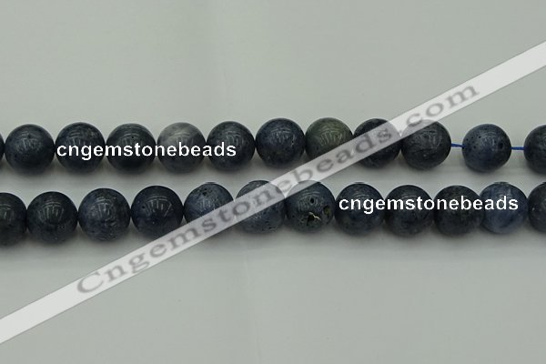 CCB457 15.5 inches 18mm round blue coral beads wholesale