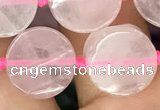 CCB500 15.5 inches 12mm coin rose quartz beads wholesale