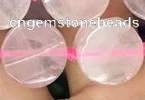 CCB501 15.5 inches 14mm coin rose quartz beads wholesale