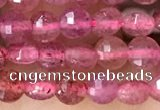 CCB532 15.5 inches 4mm faceted coin strawberry quartz beads